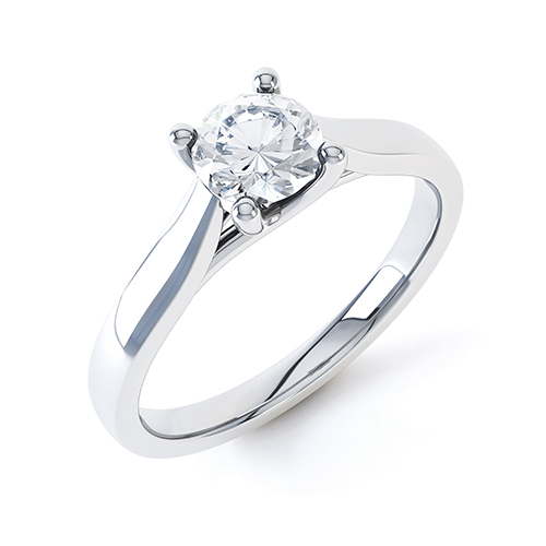 An elegant single stone round brilliant cut engagement ring in 18ct white gold