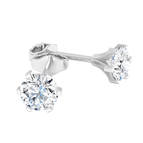 A contemporary pair of diamond earrings with round brilliant cut diamonds in 18ct white gold