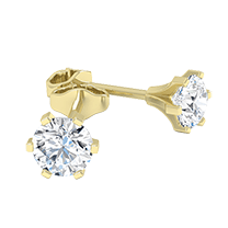 A contemporary pair of diamond earrings with round brilliant cut diamonds in 18ct yellow gold